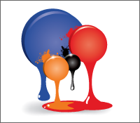 Illustrated paint colour samples - blue, orange, black and red